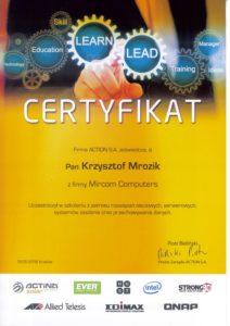 Certyfikat Action - Krzysztof Mrozik