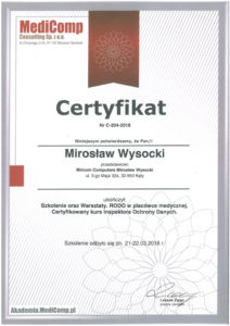 Certyfikat MediComp - Mirosław Wysocki