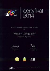Certyfikat TB Print- Mirosław Wysocki