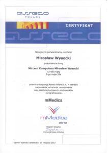 Certyfikat mMedica 2012 - Mirosław Wysocki