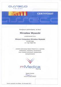 Certyfikat mMedica 2013 - Mirosław Wysocki
