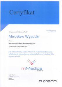 Certyfikat mMedica 2016 - Mirosław Wysocki